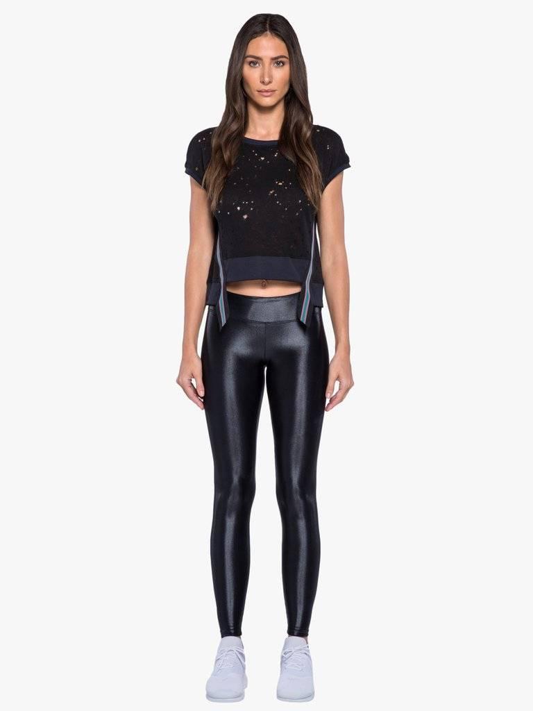 Koral Activewear Futurist Crop Top – Black Workout Top