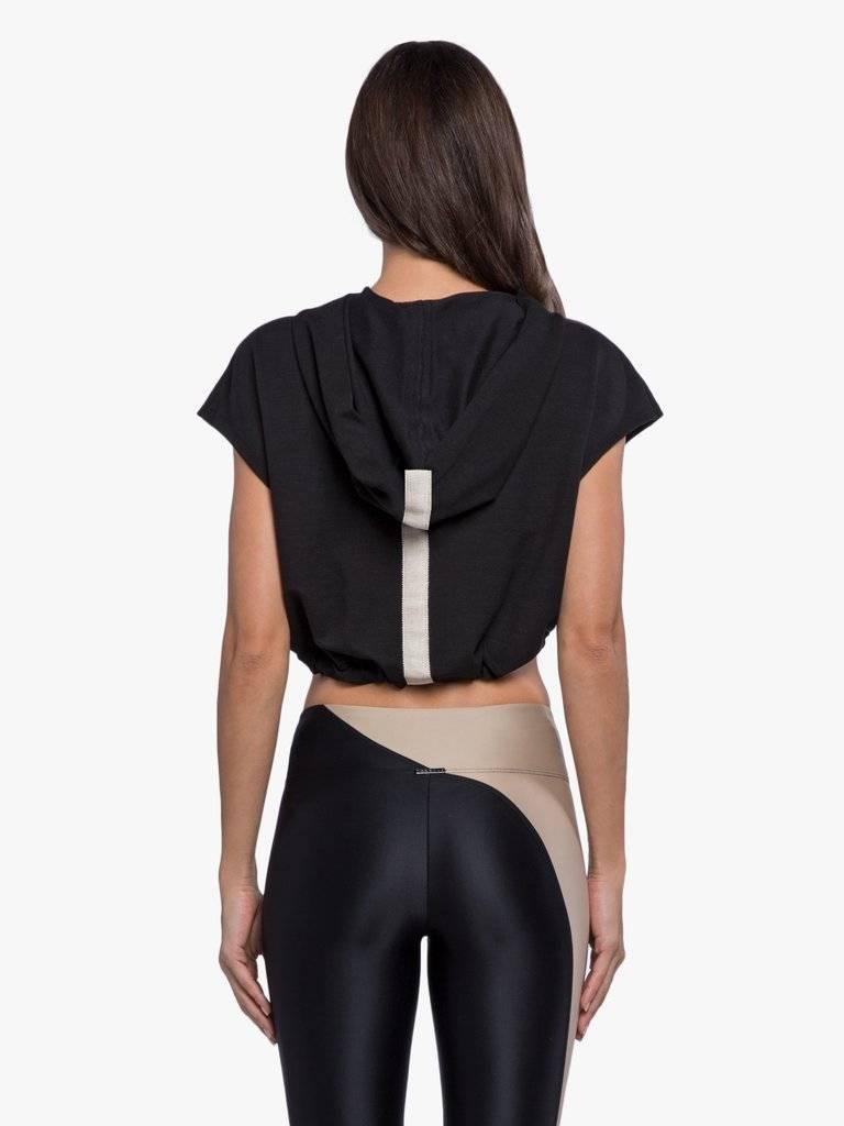 Koral Activewear Stranger Daze Hooded Top - Cropped Black Hoodie