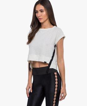 Koral Activewear Futurist Netz Crop Top - Egret Vanilla