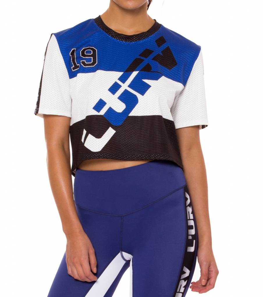 L'urv Race Stars Crop Tee Blue