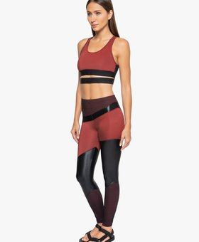 Koral Activewear Deuces Shantung High Rise Legging - Vermelho/Black