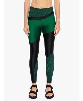 Koral Activewear Deuces Shantung High Rise Legging  - Black/Verde