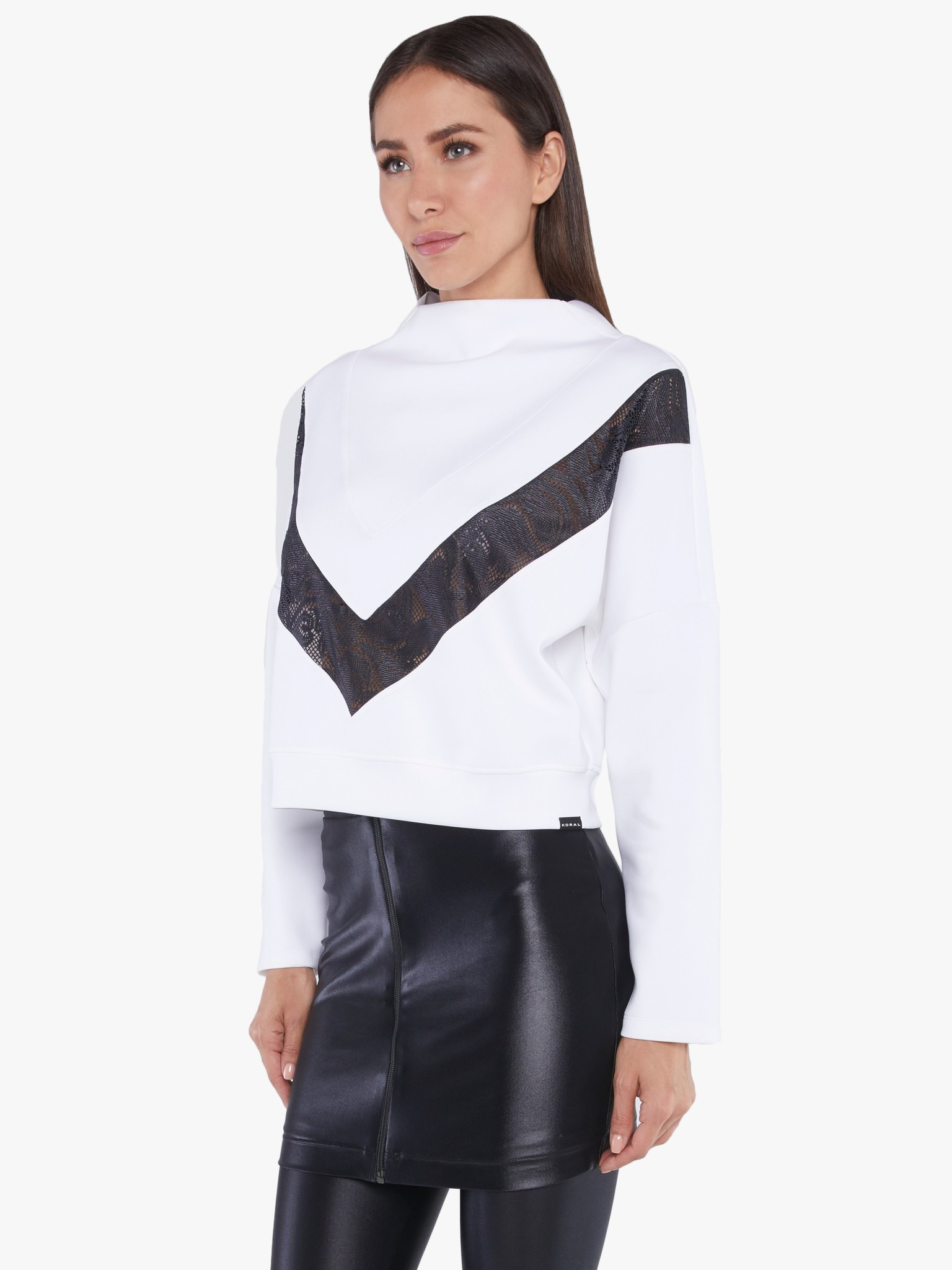 Koral Activewear Sigmatic Scuba Sweatshirt White Black