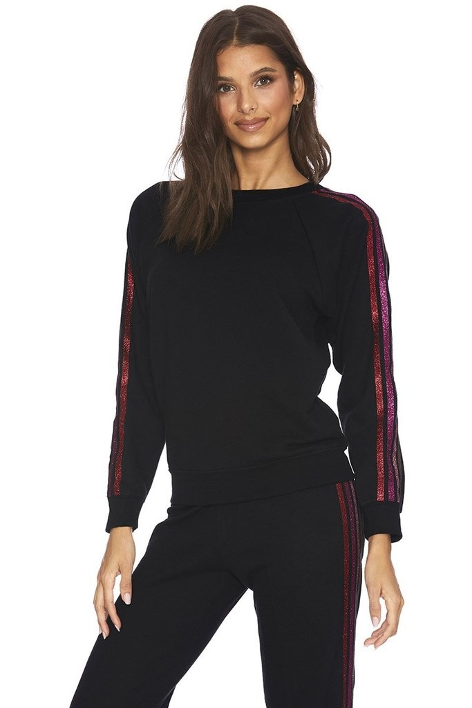Beach Riot Love Stripe Sweatshirt Black