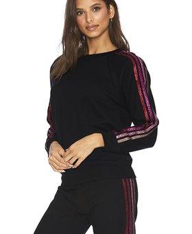 Beach Riot Love Stripe Sweatshirt Black