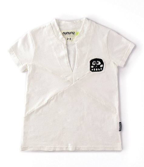 NUNUNU Rowdy Mask Patch Beach Shirt White