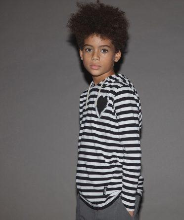 NUNUNU Hooded Striped Shirt