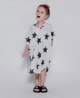 NUNUNU Star Voile Sleeveless Kaftan White