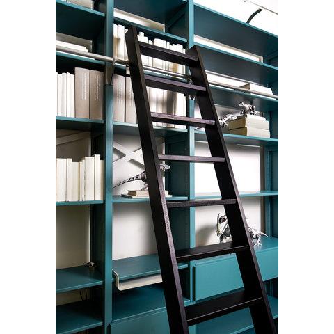 Bibliotheksleiter aus Eichenholz schwarz
