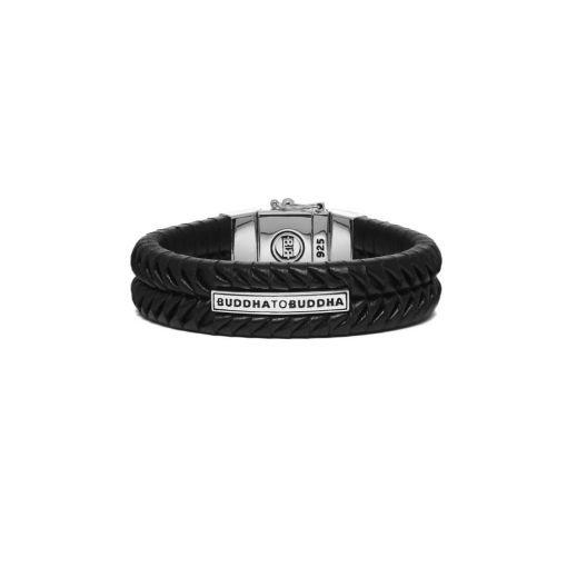 Buddha To Buddha armband leren 162BL Komang Small Zilver