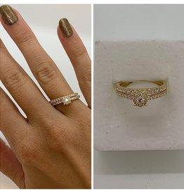 Geelgouden ringen met diamant (set)