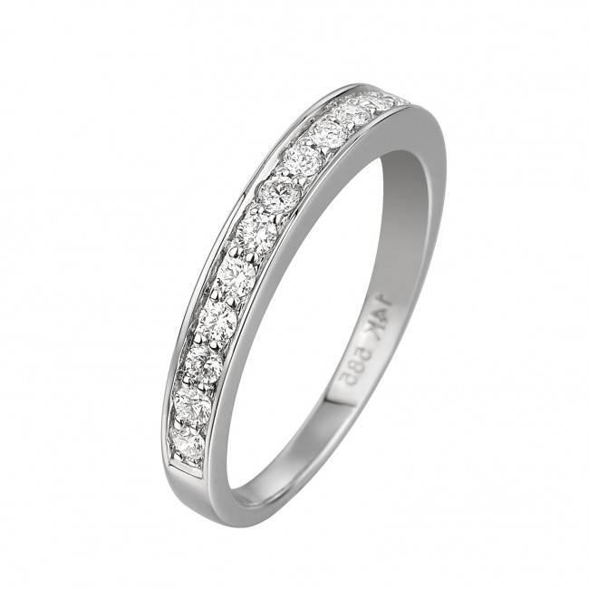 14 krt Goud Collectie GA835 WG Diamanten, witgouden ring. 12 x 0,36crt