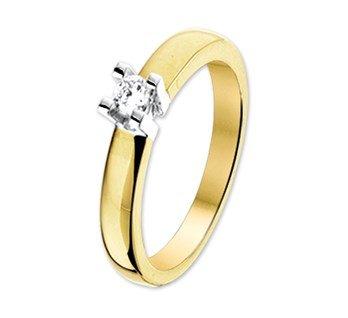 14 krt Goud Collectie 14. krt bicolor gouden ring met een diamant in een witgouden solitair.