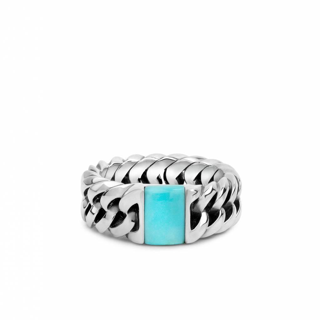 Buddha to Buddha 603TQ Chain Stone Ring Turquoise
