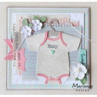 Marianne Design Stanssjablonen,, Eline's baby-onesie met hanger met video-instructies