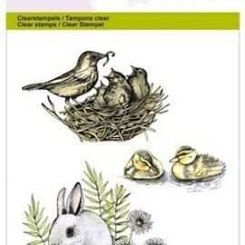Wild Rose Studio`s A6 stempel: fugle, kaniner