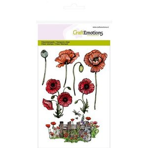 Wild Rose Studio`s A6 stamp: poppies, fence
