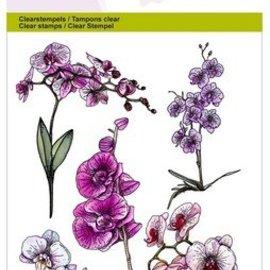 Crealies und CraftEmotions Motivstempel A6, gennemsigtig: orkidégrene