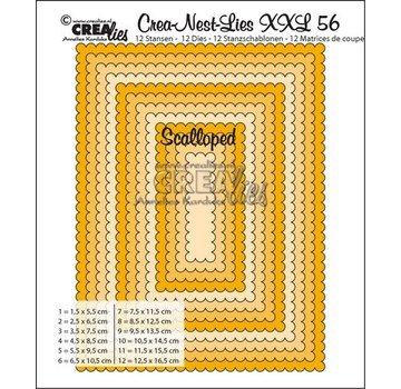 Crealies und CraftEmotions modello di punzonatura: XXL rettangoli ondulate