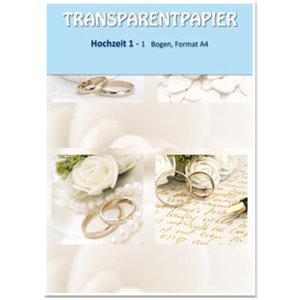 Karten und Scrapbooking Papier, Papier blöcke 1 Bogen Transparentpapiere, bedruckt, Hochzeit