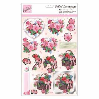 Bilder, 3D Bilder und ausgestanzte Teile usw... 3D Die cut sheets with silver foil, Valentin, flowers and hearts