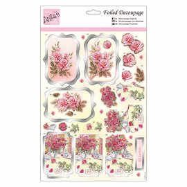 3D Die cut sheets with silver foil, Gorgeous flowers