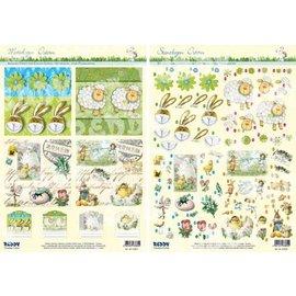 Bilder, 3D Bilder und ausgestanzte Teile usw... Punzonatura ed il modello della scheda: Pasqua, Coniglietto di Pasqua, pecore e motivo nostalgico.