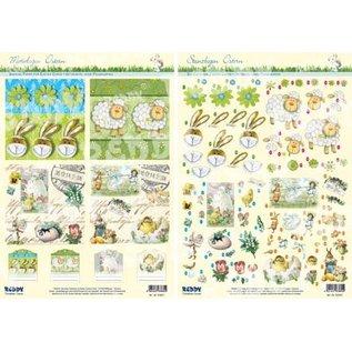 Bilder, 3D Bilder und ausgestanzte Teile usw... Punching and pattern sheet: Easter, Easter Bunny, sheep and nostalgic motif.