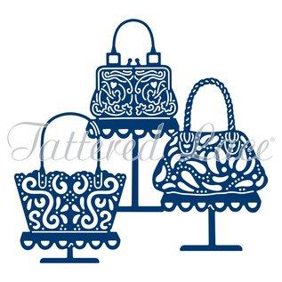 Tattered Lace Ponsen sjabloon: flarden Lace Handtas Boutique