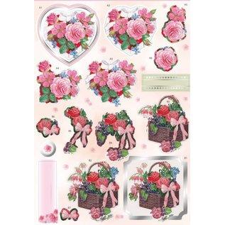 Bilder, 3D Bilder und ausgestanzte Teile usw... 3D Stanzbogen mit Silberfolie, Valentin, Blumen und Herze