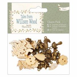 Embellishments / Verzierungen Charm Pack,  32 Teile, Tales from Willson Wood
