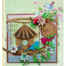Marianne Design 100% rabat !! Skæring og prægning stencil + frimærke, fuglehus: fugl