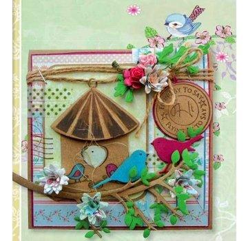 Marianne Design SCONTO DEL 100% !! Taglio e goffratura stencil + timbro, casa degli uccelli: uccello