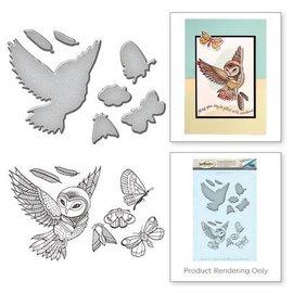 Spellbinders und Rayher Gabarit de poinçonnage et de gaufrage + motifs de timbres: hibou et insectes - seulement 1 en stock