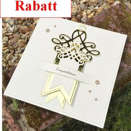 Spellbinders und Rayher Punching and embossing template: Shapeabilities, Swallowtail Tags