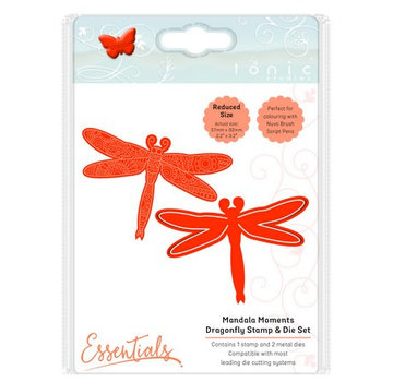 Tonic Studio´s Stempling stencil + stempel SET: Dragonfly