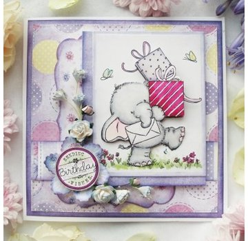 Wild Rose Studio`s Transparante stempels, A7: Olifant met Gifts