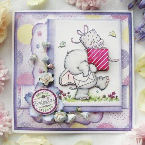 Wild Rose Studio`s tampons transparents, A7: Elephant avec des cadeaux
