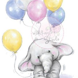 Wild Rose Studio`s Transparante stempels, A7: Olifant met ballons