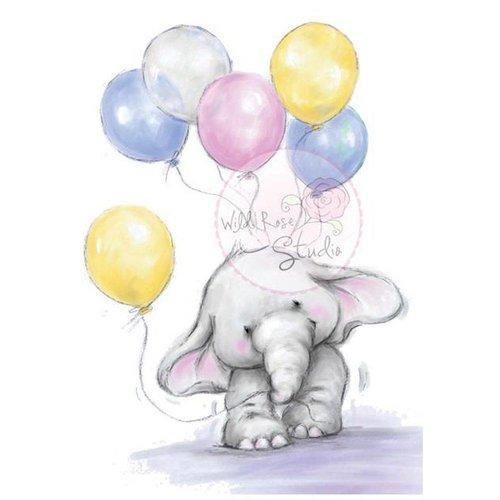 Wild Rose Studio`s tampons transparents, A7: Elephant avec des ballons