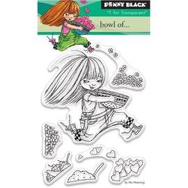 Penny Black Transparent Stempel, A7: Mädchen mit Herzen