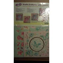 BASTELSETS / CRAFT KITS cartes Passepartout avec des fleurs et des cartes de papillon: Bastelpackung