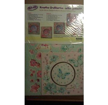 BASTELSETS / CRAFT KITS Bastelpackung: Passepartout kaarten met bloemen en vlinder kaarten