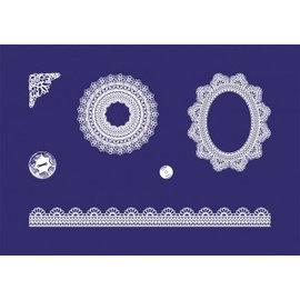 Schablonen, für verschiedene Techniken / Templates Plantilla de serigrafía puntas delicadas, DIN A5, 1 plantilla + 1 escobilla de goma