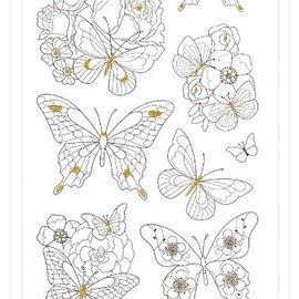 Sticker Bemalbare Aufkleber: Schmetterlinge