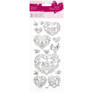 Sticker Autocollants Paintable: coeur Rose