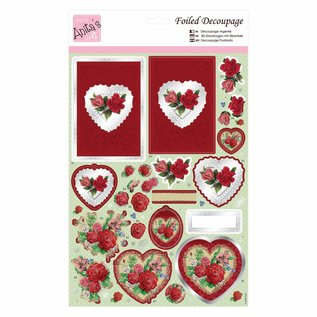 3D Die cut sheets with silver foil: Red roses