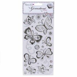 Embellishments / Verzierungen Schmuckstein Sticker, Schmetterlinge - Silber