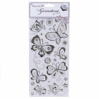 Embellishments / Verzierungen Gem Sticker - Vlinders - Silver