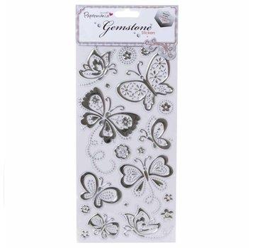 Embellishments / Verzierungen Gem Sticker, Farfalle - Argento